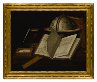 View 2. Thumbnail of Lot 132. Sold Without Reserve   BRITISH SCHOOL, CIRCA 1700   A STILL LIFE OF VARIOUS SCIENTIFIC OBJECTS RELATED TO THE MEASUREMENT OF TIME AND NAVIGATION.