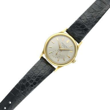 View 6. Thumbnail of Lot 233. Reference 3439  A yellow gold automatic wristwatch, Made in 1961.