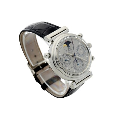 View 3. Thumbnail of Lot 236. REFERENCE 3751 DA VINCI PERPETUAL RATTRAPANTE A LIMITED EDITION PLATINUM AUTOMATIC PERPETUAL CALENDAR SPLIT SECONDS CHRONOGRAPH WRISTWATCH WITH MOON PHASES AND YEAR DISPLAY, CIRCA 1998.