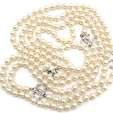 View 8. Thumbnail of Lot 165. CHANEL | IVORY FAUX PEARL DOUBLE STRAND NECKLACE WITH FAUX PEARL EMBELLISHED CC PENDANTS AND LOBSTER CLASP CLOSURE, 2012.