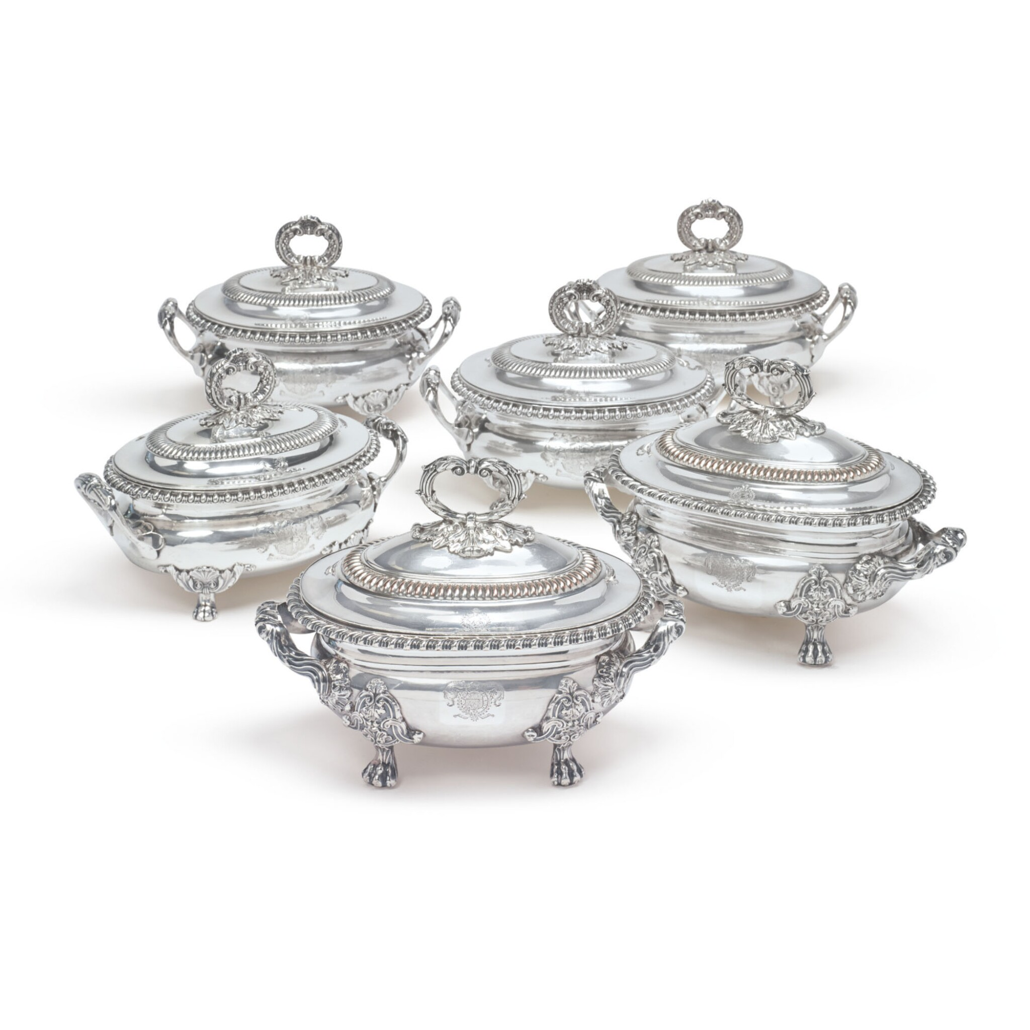 View full screen - View 1 of Lot 788. A SET OF FOUR REGENCY SILVER SAUCE TUREENS AND COVERS, BENJAMIN SMITH II & BENJAMIN SMITH III, LONDON, 1817.