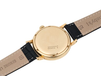 View 3. Thumbnail of Lot 32. UNIVERSAL GENÈVE | MADE FOR SCANDINAVIAN AIRLINES SYSTEM: POLAROUTER DELUXE, REF 10234/1  YELLOW GOLD WRISTWATCH CIRCA 1955.