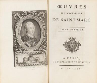 View 2. Thumbnail of Lot 92. Réunion de 2 ouvrages en 7 volumes reliés aux armes de la comtesse de Provence.