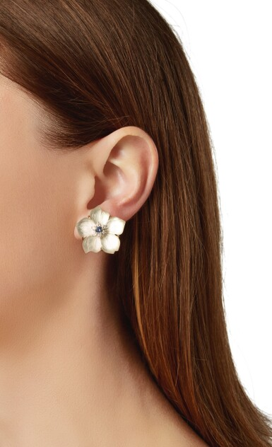 PAIR OF ROCK CRYSTAL, MOTHER-OF-PEARL, DIAMOND AND SAPPHIRE EARCLIPS, SEAMAN SCHEPPS
