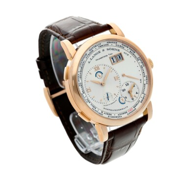 View 3. Thumbnail of Lot 17. Reference 116.032 Lange 1 Time Zone  A pink gold world time wristwatch with date and power reserve, Circa 2010.