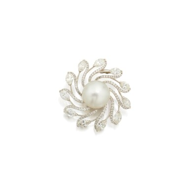 CULTURED PEARL AND DIAMOND CLIP-BROOCH, CARVIN FRENCH