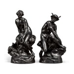 A PAIR OF WEDGWOOD BLACK BASALT LARGE FIGURES OF VENUS AND MERCURY 19TH CENTURY