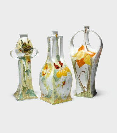 """View 3. Thumbnail of Lot 122. ROZENBURG   TWO-HANDLED """"PANSY AND SPARROW"""" VASE."""