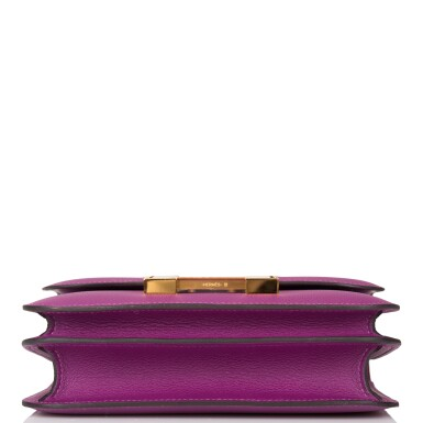 View 6. Thumbnail of Lot 21. Hermès Anemone Constance 18cm of Evercolor Leather with Gold Hardware.