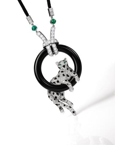 View 2. Thumbnail of Lot 1662. Cartier | 'Pantheré' Diamond, Onyx and Emerald Pendent Necklace | 卡地亞 | 'Pantheré' 鑽石 配 縞瑪瑙 及 祖母綠 項鏈.