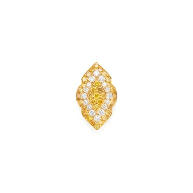 View 1. Thumbnail of Lot 235. DIAMOND AND COLORED DIAMOND RING, VAN CLEEF & ARPELS.