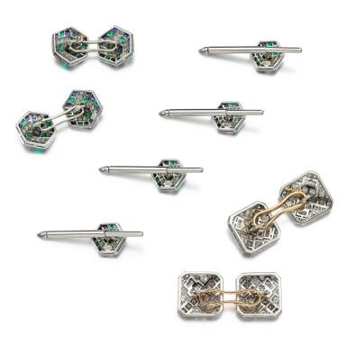 View 2. Thumbnail of Lot 208. Pair of diamond cufflinks, 1930s, and an emerald, sapphire and diamond dress set.