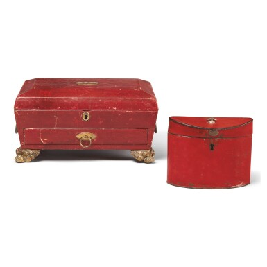 A REGENCY RED LEATHER AND GILT BRONZE-MOUNTED JEWEL BOX, TOGETHER WITH AN OVAL RED PAINTED TOLE TEA CADDY, 19TH CENTURY