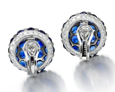 View 3. Thumbnail of Lot 89. GRAFF | PAIR OF SAPPHIRE AND DIAMOND EARRINGS.