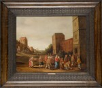 FOLLOWER OF DROOCHSLOOT | A village landscape with figures entering a church