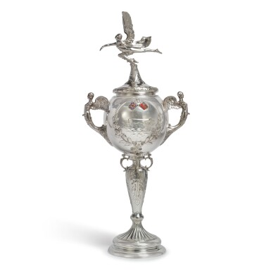 AN ENGLISH SILVER AND ENAMEL SPEEDBOAT TROPHY, GOLDSMITHS & SILVERSMITHS CO. LTD., LONDON, 1929