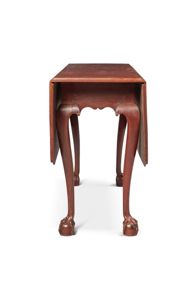 VERY FINE AND RARE CHIPPENDALE CARVED MAHOGANY DROP-LEAF TABLE, SALEM, MASSACHUSETTS, CIRCA 1770