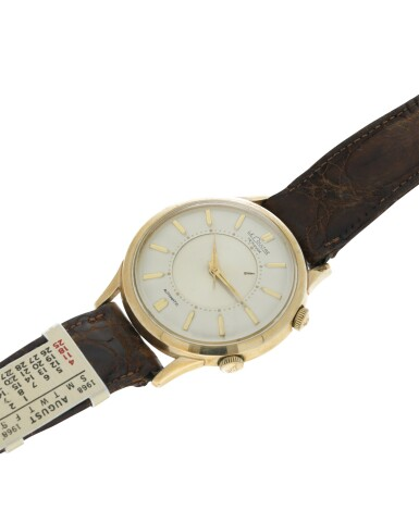 MEMOVOX A GOLD PLATED AND STAINLESS STEEL AUTOMATIC ALARM WRISTWATCH, CIRCA 1965