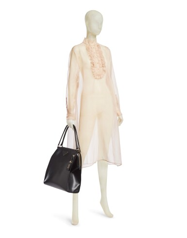 View 2. Thumbnail of Lot 16. PRADA | SHEER SILK ORGANZA DRESS AND LOUISE LEATHER TOTE BAG, WORN BY RIANNE VAN ROMPAEY. UNIQUE DRESS NOT IN THE STORES.