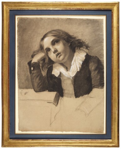 View 3. Thumbnail of Lot 22. PAULINE AUZOU     PORTRAIT OF A SEATED BOY, SUPPORTING HIS RIGHT ELBOW.