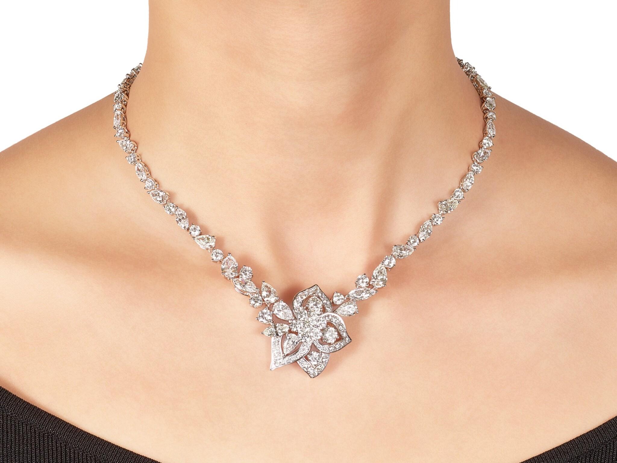 View full screen - View 1 of Lot 1063. 'Peony' Diamond Necklace | 格拉夫| 'Peony' 鑽石項鏈 (鑽石共重約28.30克拉).
