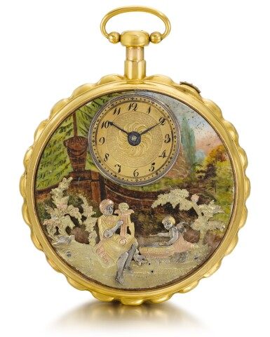 View 1. Thumbnail of Lot 25. SWISS | A GOLD AND ENAMEL QUARTER REPEATING MUSICAL AUTOMATON WATCH FOR THE CHINESE MARKET  CIRCA 1800.