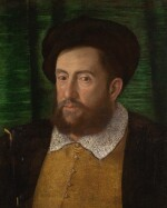 CIRCLE OF GIROLAMO DA CARPI | Portrait of a gentleman, bust-length, in a brown doublet, an embroidered collar and a black robe and hat, against a green background
