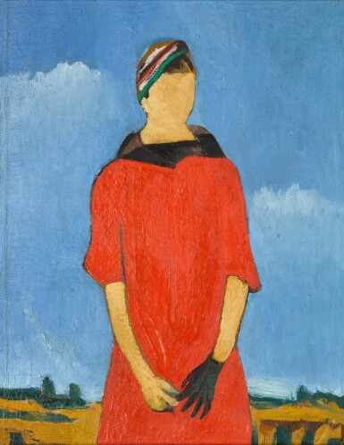 View 1. Thumbnail of Lot 110. Portrait of a Woman in Red.