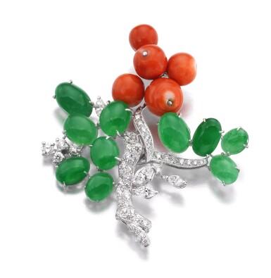 View 1. Thumbnail of Lot 625. Jadeite, coral and diamond brooch | 翡翠配珊瑚及鑽石別針.