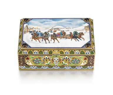 View 1. Thumbnail of Lot 312. A gem-set silver-gilt cloisonné and pictorial enamel table box, 11th Artel, Moscow, 1908-1917.