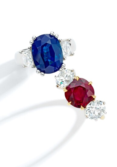 View 2. Thumbnail of Lot 45. Sapphire and Diamond Ring.