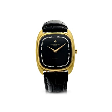 View 1. Thumbnail of Lot 804. REFERENCE 44003 A YELLOW GOLD CUSHION SHAPED AUTOMATIC WRISTWATCH WITH DIAMOND-SET ONYX DIAL, CIRCA 1985.