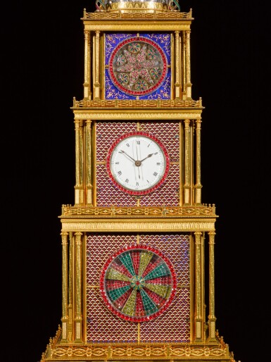 View 5. Thumbnail of Lot 16. John Mottram. A George III gilt-brass and enamel musical automaton clock for the Chinese market, London, circa 1790.