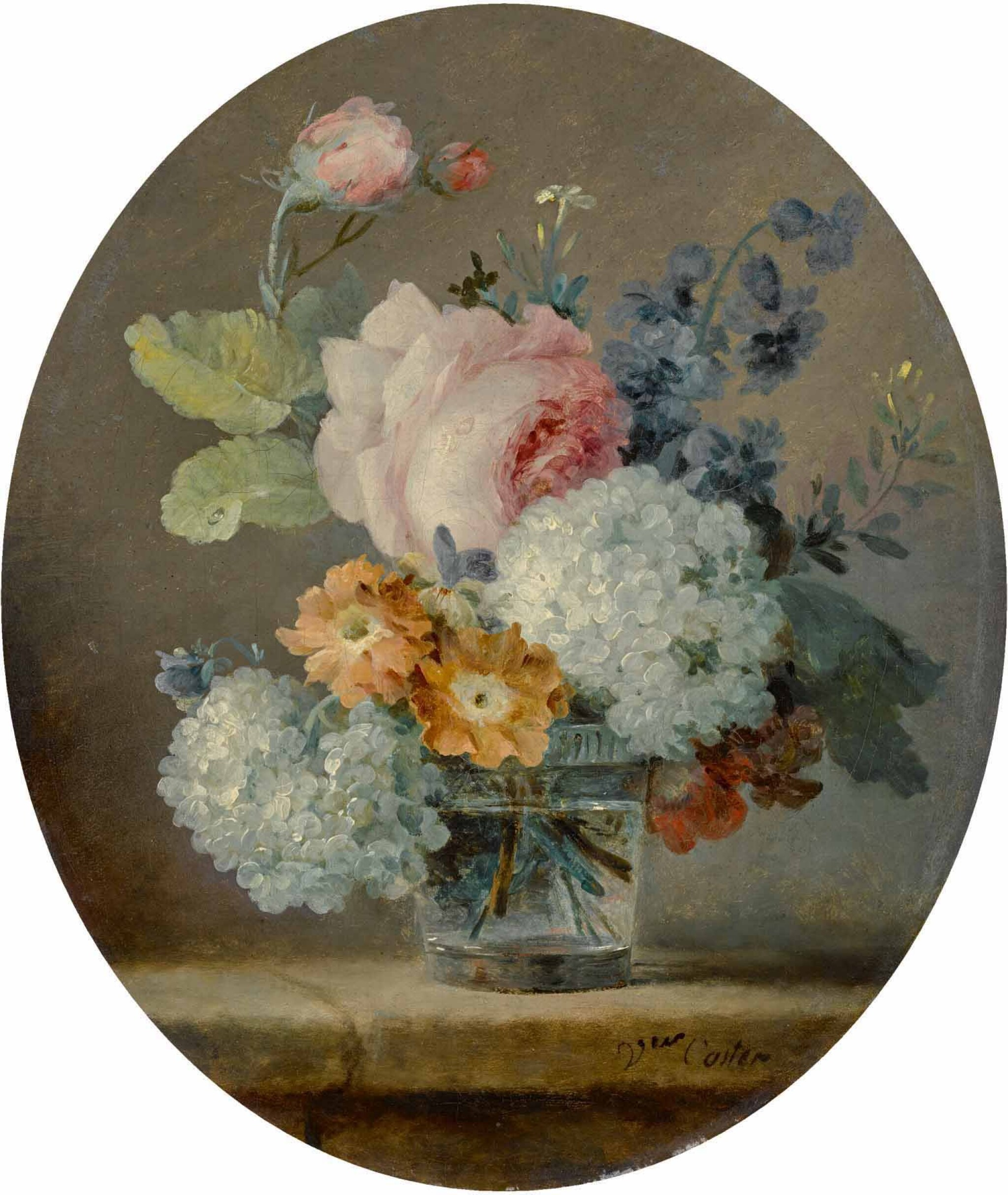 View full screen - View 1 of Lot 5. ANNE VALLAYER-COSTER | STILL LIFE OF ROSES, SNOWBALLS, PEONIES AND HYACINTHS IN A GLASS ON A LEDGE.