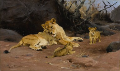 View 1. Thumbnail of Lot 60. WILHELM KUHNERT | A LIONESS AND HER CUBS.