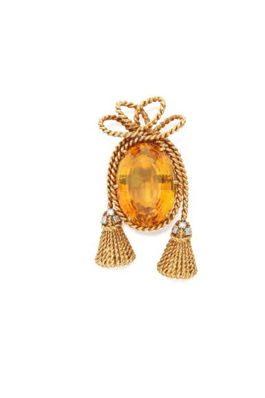 GOLD, CITRINE AND DIAMOND CLIP-BROOCH, SCHLUMBERGER FOR TIFFANY & CO.