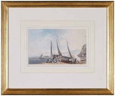 View 2. Thumbnail of Lot 192. A beached boat at Dover, a Picnic in preparation.