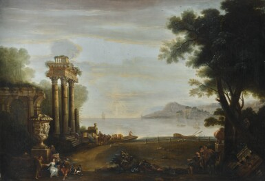 JOHN WOOTTON | An Italianate coastal landscape, with figures by classical ruins, and a ferry beyond