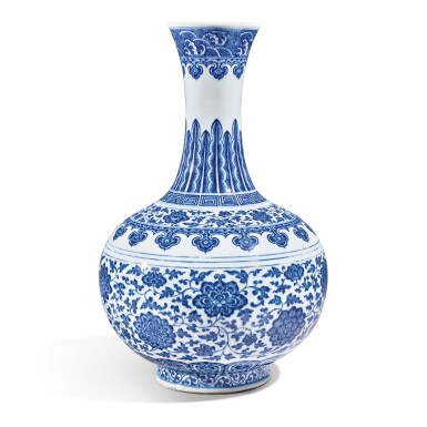 View 3. Thumbnail of Lot 147. A Ming-style blue and white bottle vase, Qianlong seal mark and period   清乾隆 青花纏枝蓮紋賞瓶  《大清乾隆年製》款.
