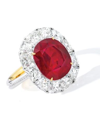 View 1. Thumbnail of Lot 1743. DESIGNED AND MOUNTED BY FORMS | AN EXCEPTIONAL RUBY AND DIAMOND RING | Forms 設計及鑲嵌 | 非常珍罕 6.41卡拉 天然「緬甸鴿血紅」未經加熱紅寶石 配 鑽石 戒指 戒指.