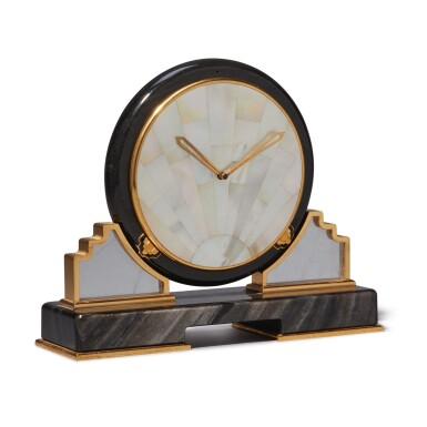 View 3. Thumbnail of Lot 56. AN OBSIDIAN, MOTHER OF PEARL, ROCK CRYSTAL AND GILT BRASS DESK TIMEPIECE, CIRCA 1980.