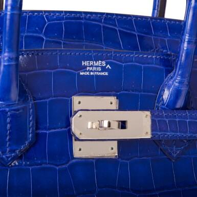 View 7. Thumbnail of Lot 7. Hermès Bleu Electrique Birkin 30cm of Shiny Porosus Crocodile with Palladium Hardware.