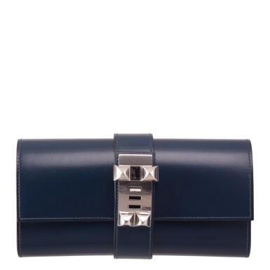 Hermès Blue Sapphire Box Leather Medor Clutch 23cm