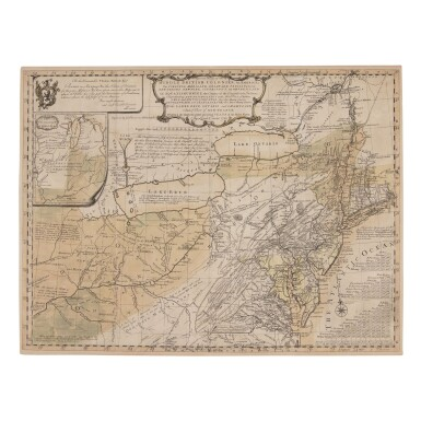 """View 1. Thumbnail of Lot 155. Evans, Lewis   First issue of """"the most important map of the American colonies""""."""