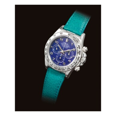 View 2. Thumbnail of Lot 2236. ROLEX | COSMOGRAPH DAYTONA, REFERENCE 16516   A HISTORICALLY IMPORTANT AND POSSIBLY UNIQUE PLATINUM CHRONOGRAPH WRISTWATCH WITH LAPIS LAZULI HARDSTONE DIAL, CIRCA 1999 "