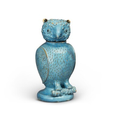 View 1. Thumbnail of Lot 21. Staffordshire, England, 19th century | Lidded Vessel in the form of an Owl.