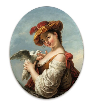 View 5. Thumbnail of Lot 46. A Young Girl reading a Musical Score; A Young Girl playing with a Bird, also called the Song and the Turtledove.
