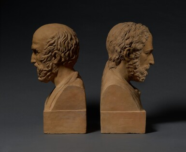 View 2. Thumbnail of Lot 10. FRANCE   PAIR OF BUSTS OF GALEN AND HIPPOCRATES.