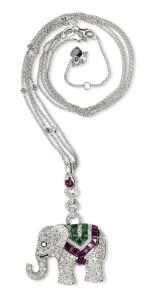 Ruby, emerald and diamond pendant, Michele della Valle