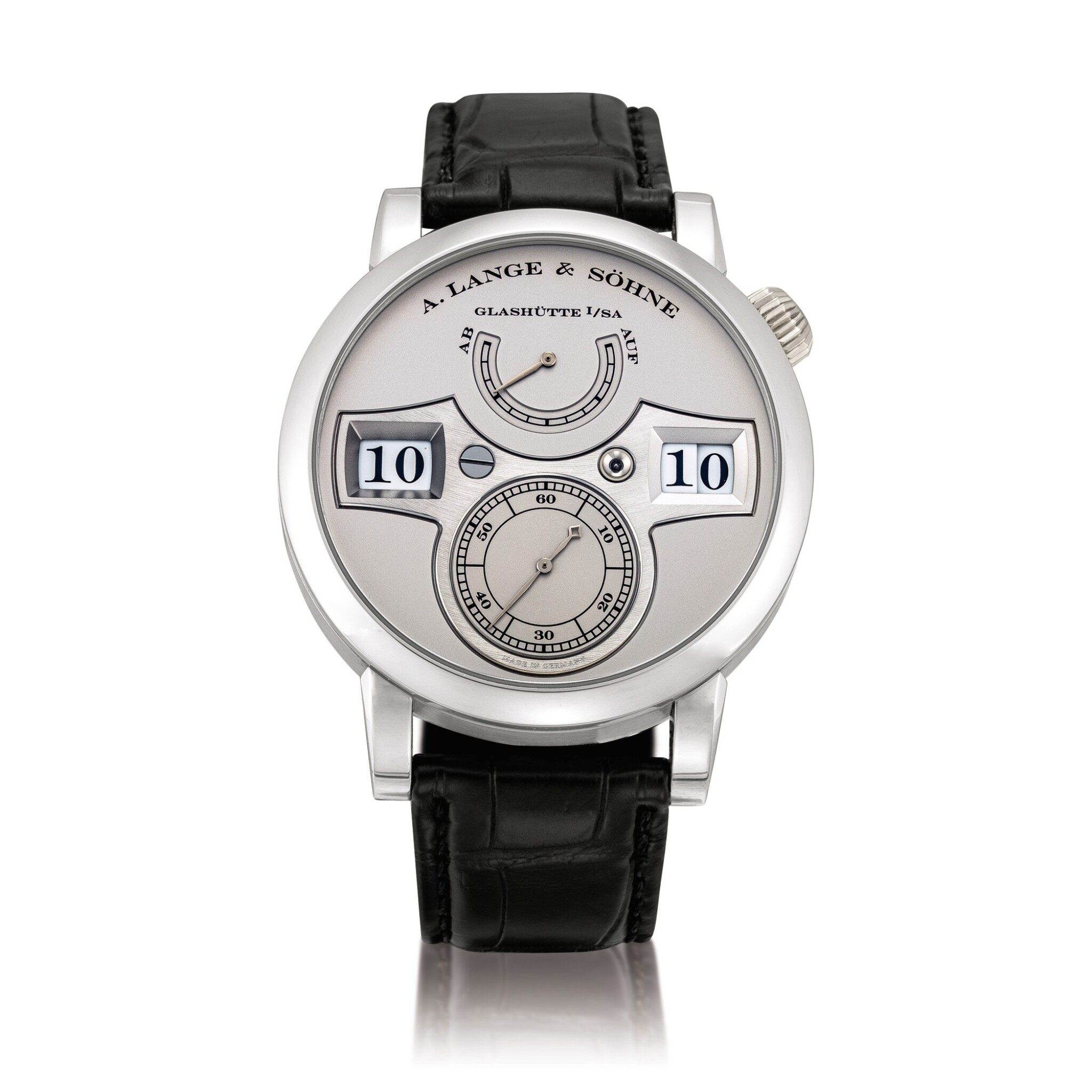 View full screen - View 1 of Lot 2021. A. Lange & Söhne | Zeitwerk, Reference 140.025, A limited edition platinum wristwatch with digital time display and power reserve indication, Circa 2009 | 朗格 | Zeitwerk 型號140.025 限量版鉑金腕錶,備跳字及動力儲備顯示,約2009年製.